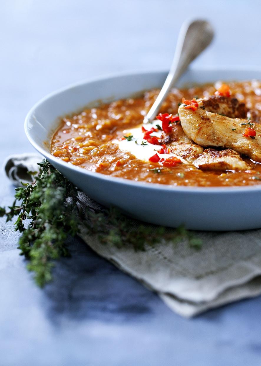 """Spicy linsesuppe fra bogen """"Spis dig rask""""*"""