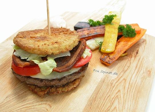LCHF burger med bacon og paneret glaskål
